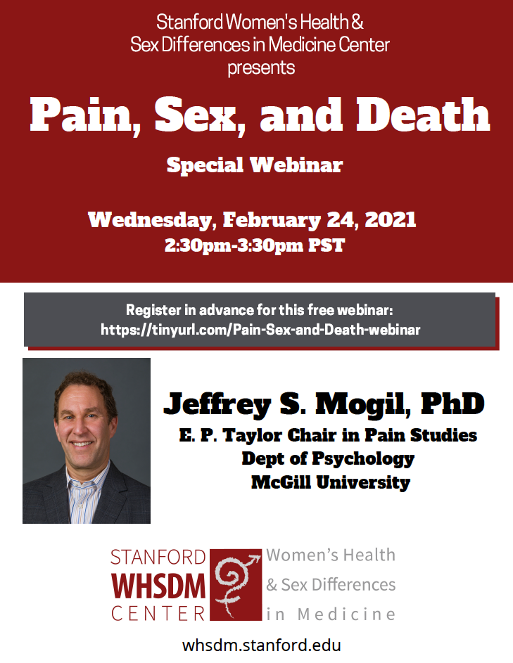 Please join the Stanford WHSDM Center for a special webinar featuring Professor Jeffrey Mogil of McGill University's Department of Psychology.
