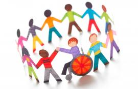 Illustration showing diverse paper dolls holding hands in a circle