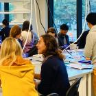 Students collaborate in the Vincent V.C. Woo Sandbox Laboratory at the Wu Tsai Neurosciences Institute