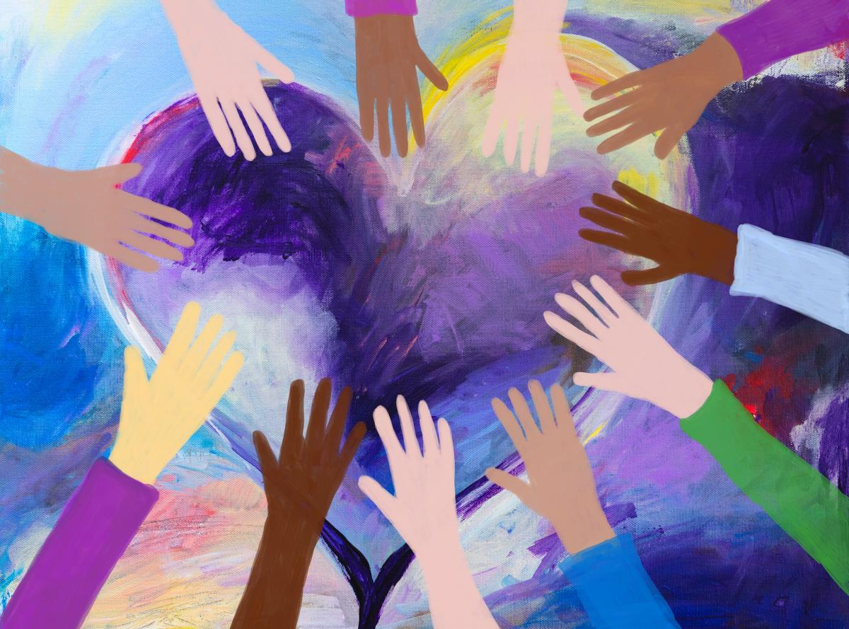 Painting of diverse hands around heart